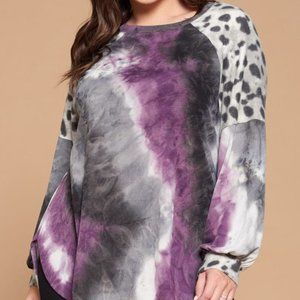 Purple and Grey Tie Dye and Animal Print Top